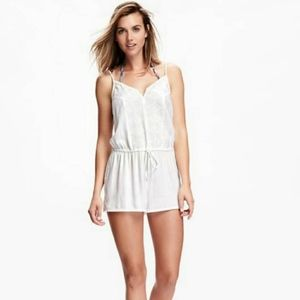 Old Navy Linen Cami Romper Small Embroidered White
